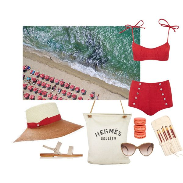 What I would wear to... St. Tropez by fieldnotes on Polyvore featuring polyvore, fashion, style, Lisa Marie Fernandez, K. Jacques, Hermès, Chanel, Inverni and Gray Malin