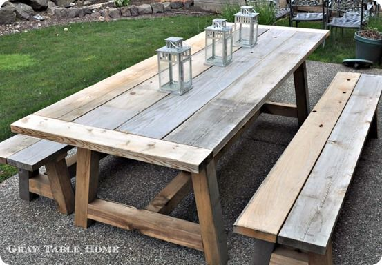 DIY Furniture ~ Restoration Hardware Inspired Outdoor Dining Table And  Benches {with Free Woodworking Plans