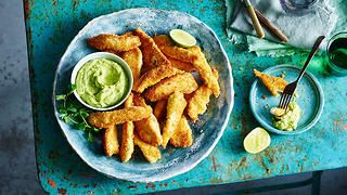 Coconut chicken strips with avocado dipping sauce recipe : SBS Food
