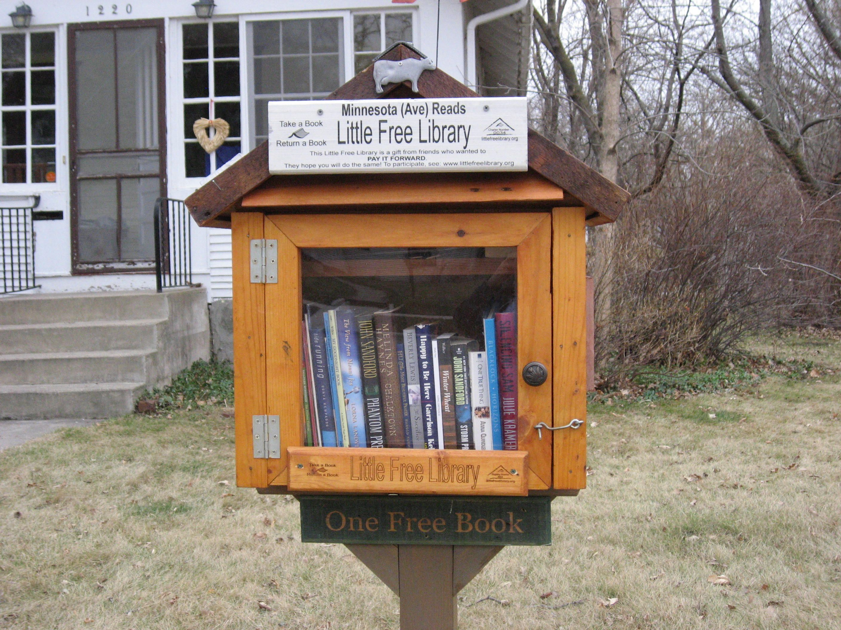 this is my little free library that sits on my front lawn and is a