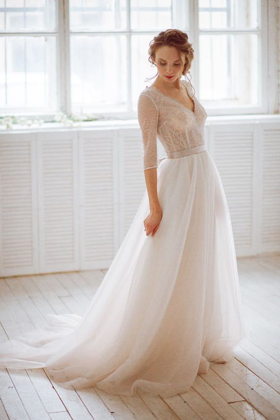 Stella / Vintage natural French lace wedding dress with closed back ...