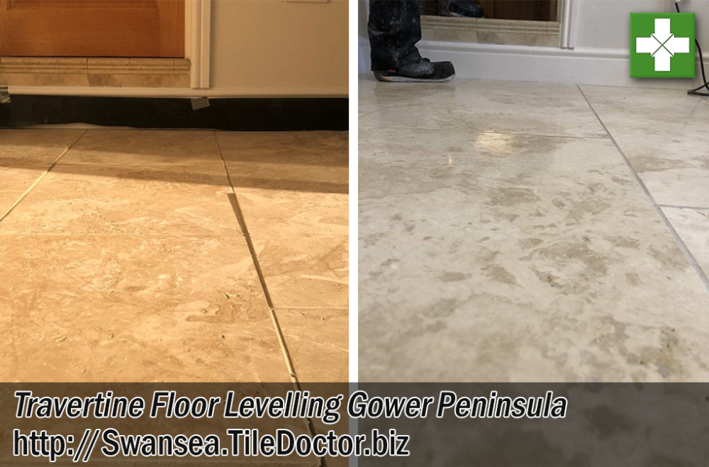 levelling an uneven travertine kitchen floor in the gower