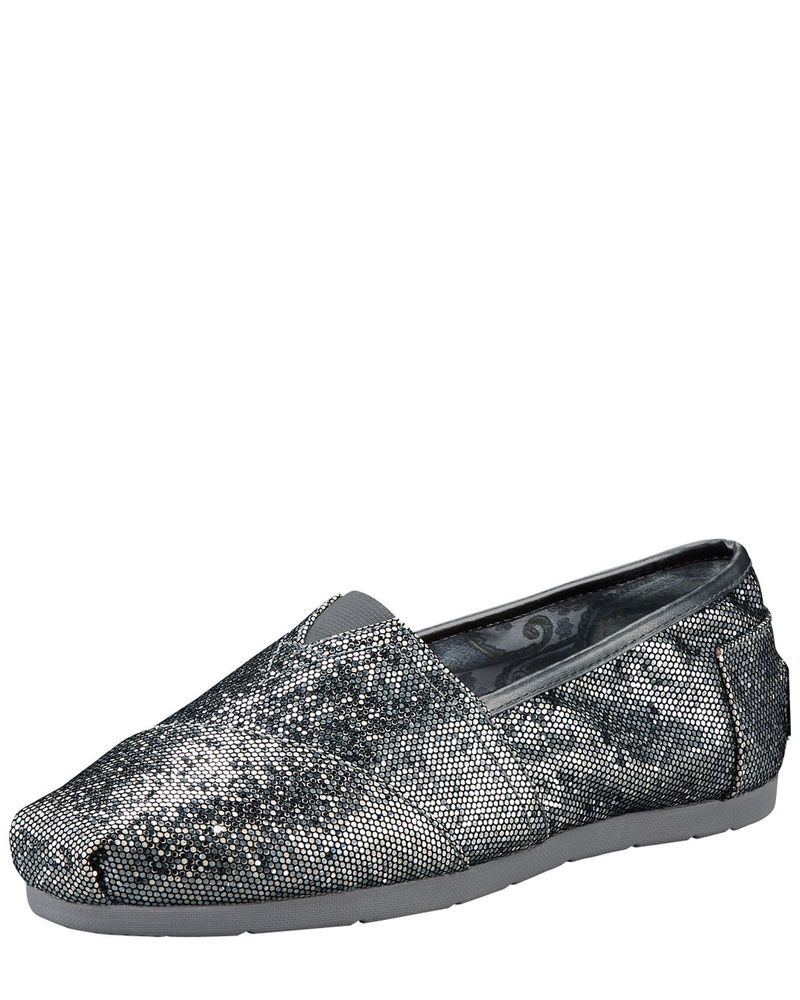 4713ea778d9 Women TOMS Neiman Marcus Exclusive Glitter Metallic Grey Slip On Flat Shoe  8W  TOMS  Oxfords