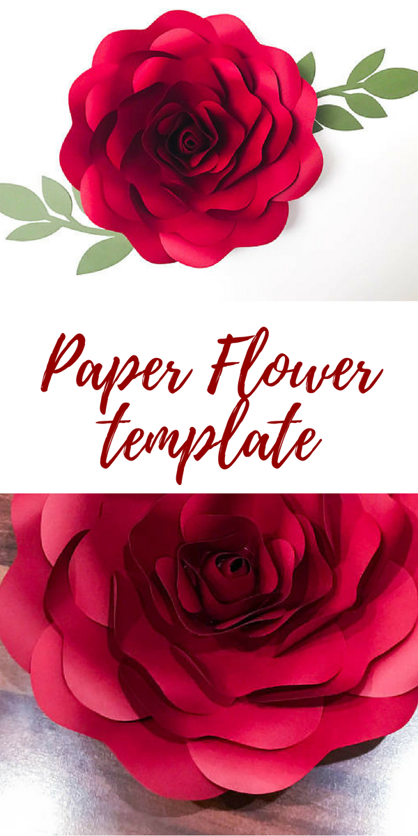 Paper Flower template including 5 different Petal Sizes and 2 ...