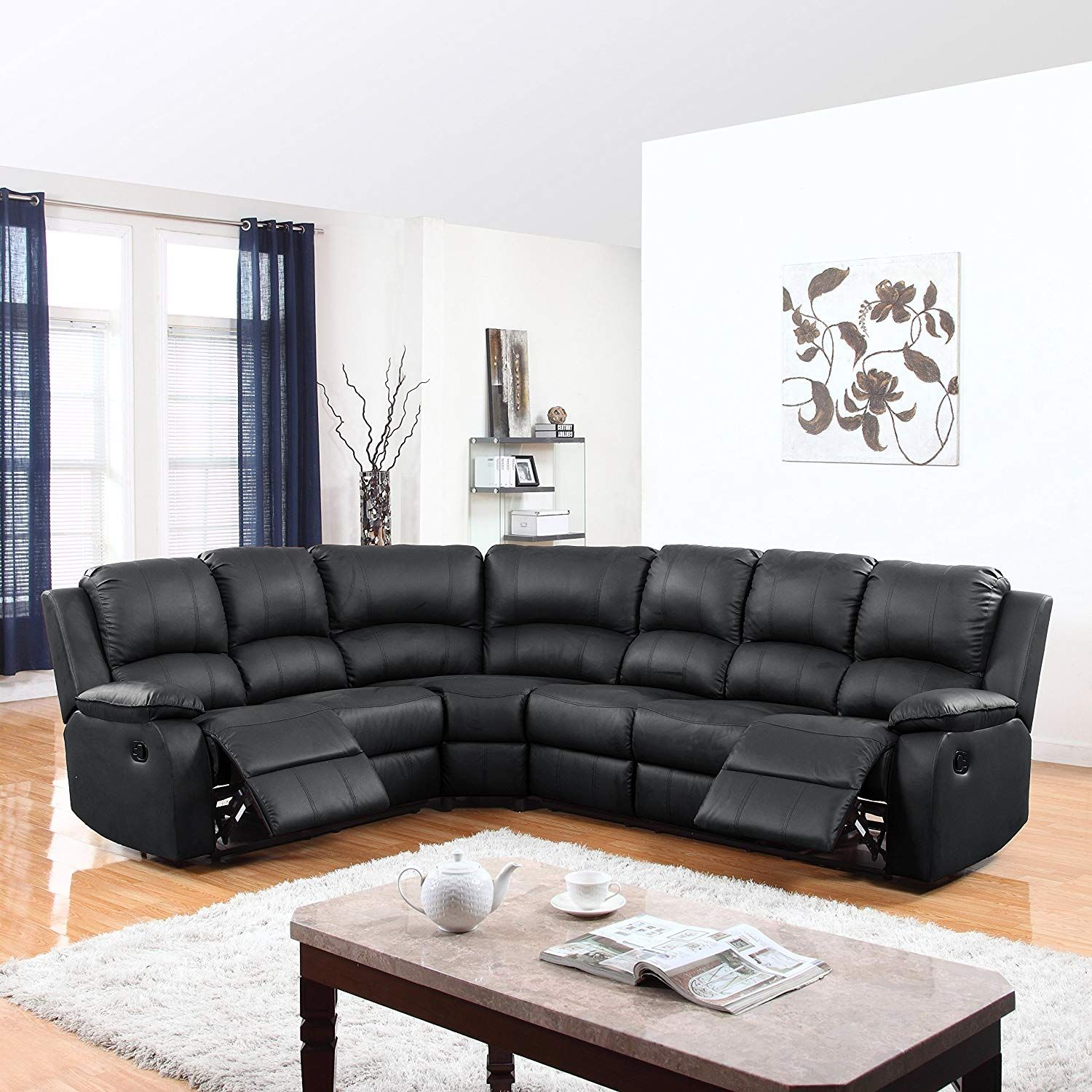 Divano Roma Furniture Large Clic And Traditional Bonded Leather Reclining Corner Sectional Sofa Black