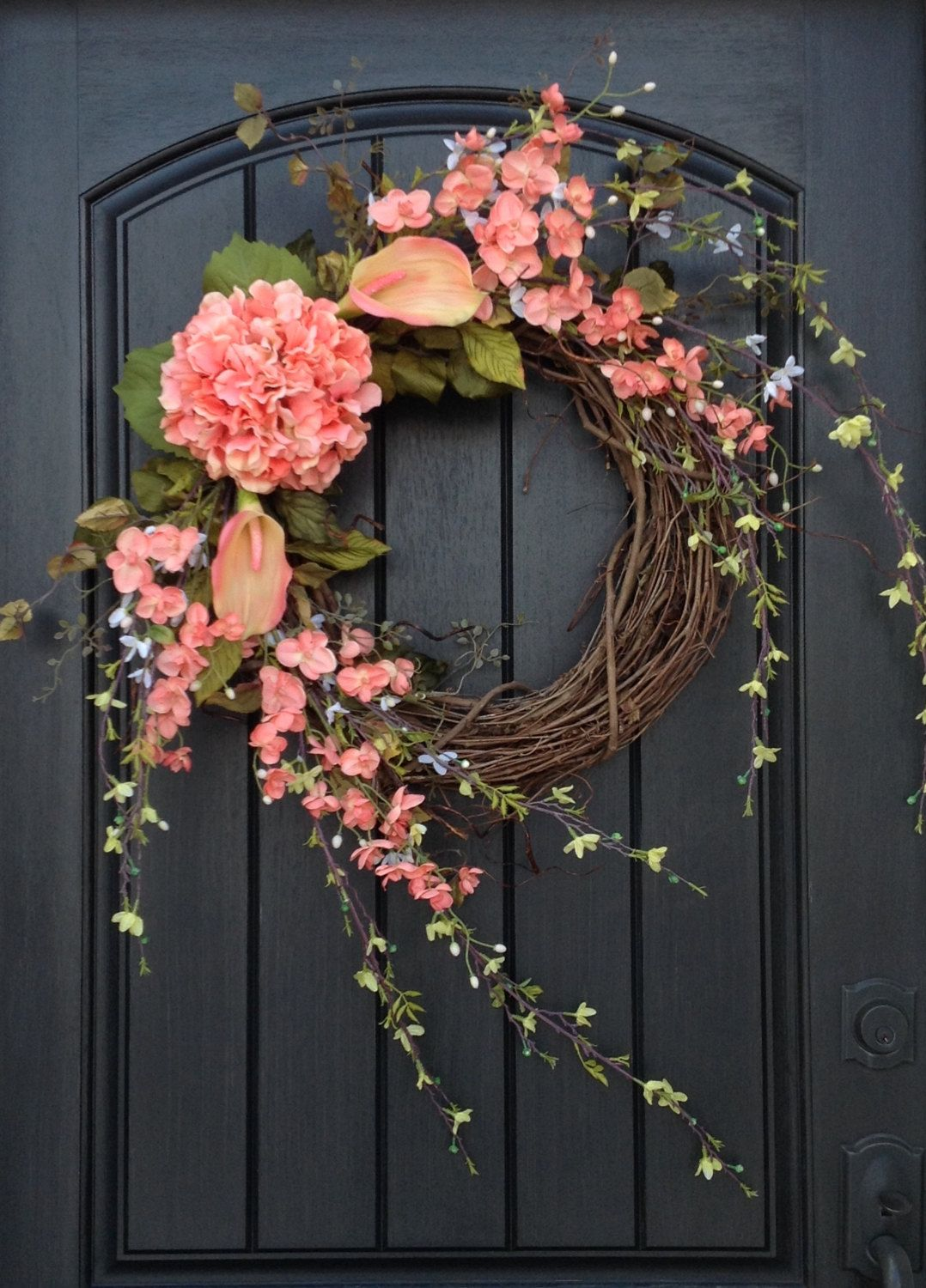Summer front door decorations - Spring Wreath Summer Wreath Floral White Green Branches Door Wreath Grapevine Wreath Decor Coral Peach Lilies Wispy Easter Mothers Day