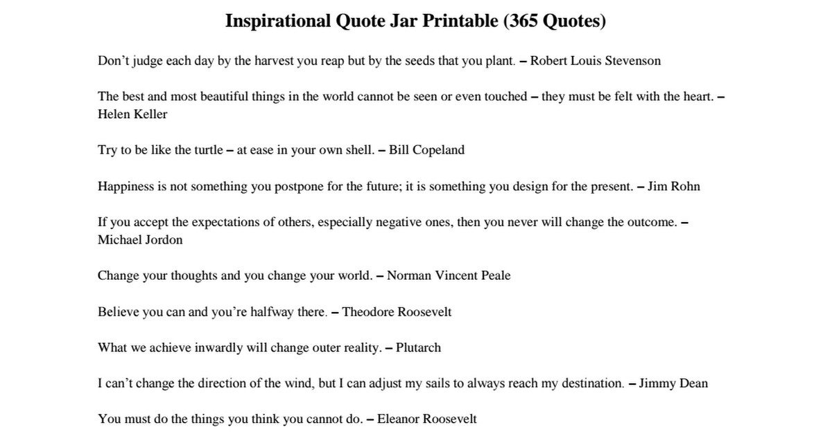 image about Printable Inspirational Quotes Pdf titled Inspirational Quotation Jar Printable (revised).pdf - Google