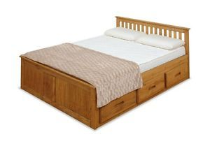4ft Small Double Captains Storage Solid Pine Wooden Bed Bedframe