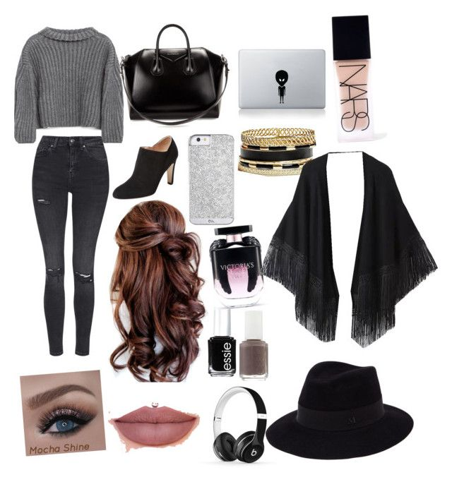 """""""#042"""" by molliethompsonn on Polyvore featuring Zara, Topshop, Sergio Rossi, Givenchy, Beats by Dr. Dre, GUESS, Essie, Victoria's Secret, Relaxfeel and Maison Michel"""