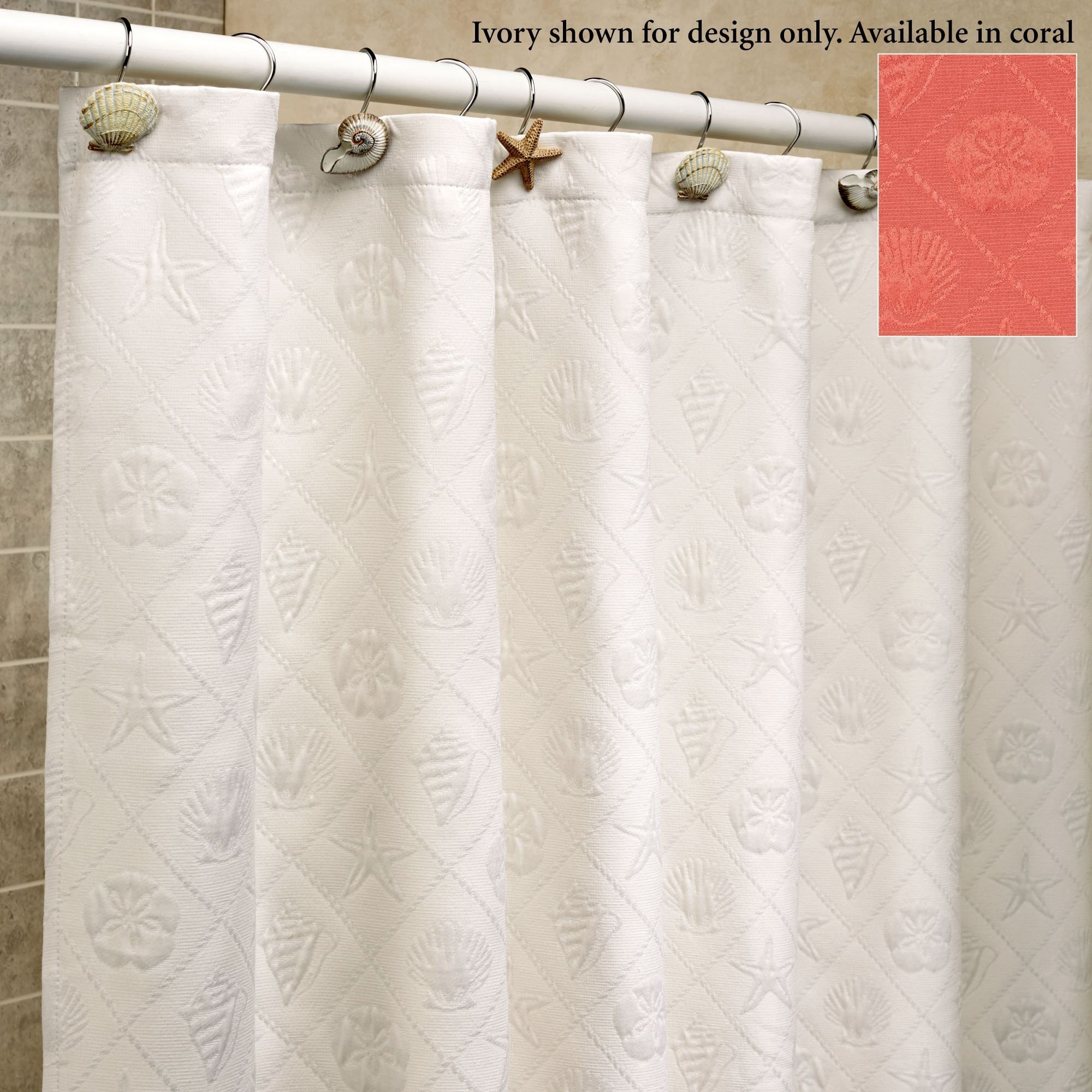 Pinzon signature diamond matelasse shower curtain white
