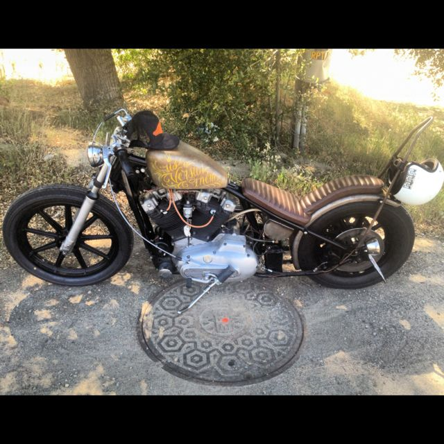 Harley Ironhead Sportster This Reminds Me Of My First I Had A 79 Ironheadwith 6 Bend Bars King Queen And Sissy Bar