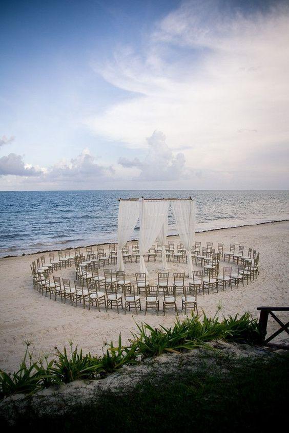 beach wedding setup idea set the guest chairs in a circle than in