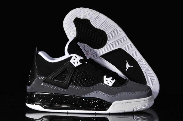 great fit cbaf7 7bc3d Nike Air Jordan 4 IV Oreos Womens Shoes Black Grey