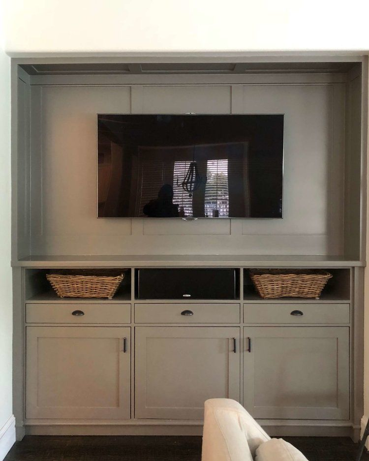 Before And After How To Update Your Deep Cabinetry To House A Big Flat Screen Tv Designed Built In Tv Cabinet Built In Cabinets Cabinet Design