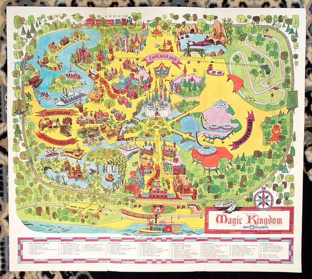 Vintage big 1971 magic kingdom walt disney world map guide walt vintage big 1971 magic kingdom walt disney world map guide freerunsca Gallery