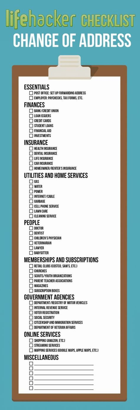 Change Your Address Everywhere On This Printable Checklist When You Move Moving Tips Moving Home Moving Help