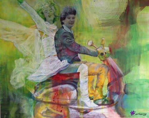 artiazza. Ausfahrt by Barbara Weber; Figurative painting, #art #love #couple #ride