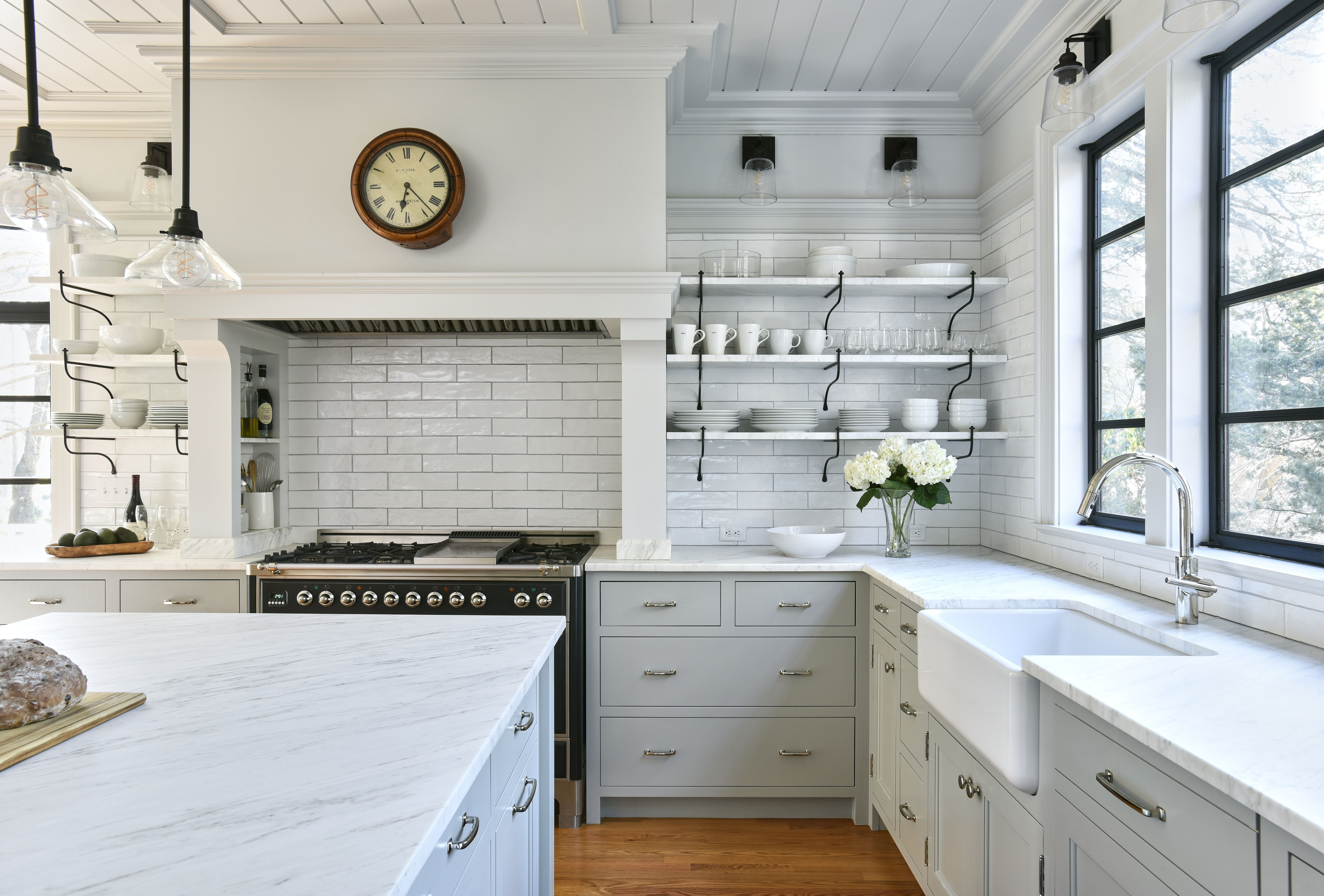 Modern English Kitchen Extra Long Subway Tiles Unique Black Metal Shelf Supports Custom Kitchen Remodel Kitchen Remodel Kitchen Design