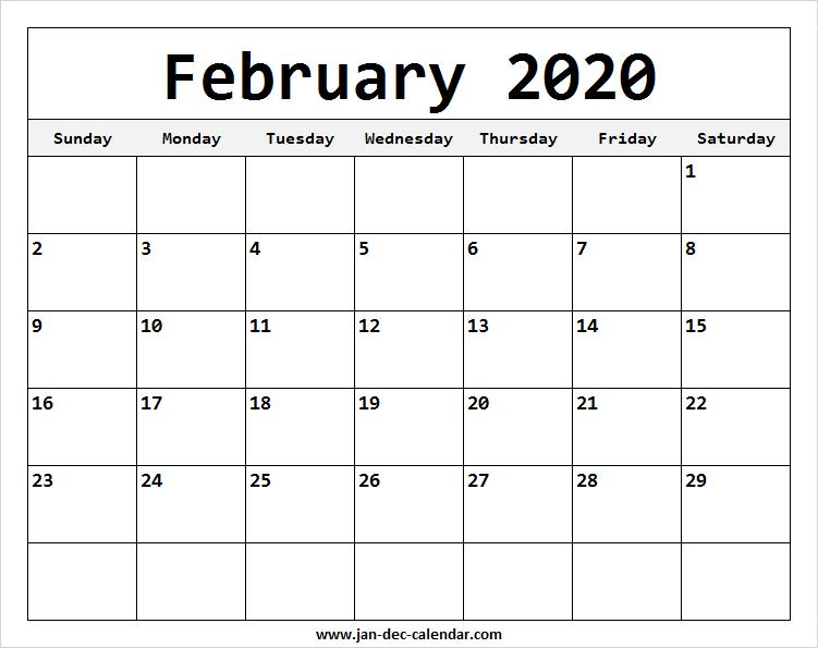 February Calendar 2020 Template | January-December Calendar