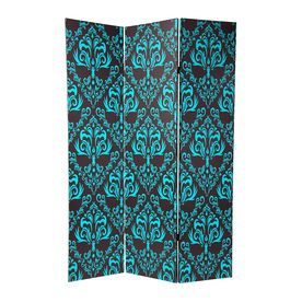 indoor privacy screen living room furniture simple decorating ideas oriental damask 3 panel blue black wood and fabric folding