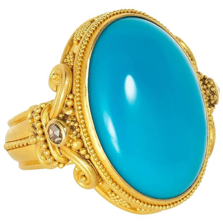 Carolyn Tyler Sleeping Beauty Turquoise Diamond And Yellow Gold Ring Antique Turquoise Rings Turquoise Rings Turquoise Jewelry
