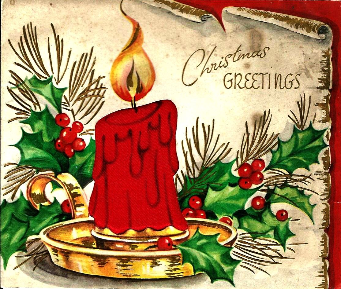 beautiful christmas cards with candles Vintage christmas