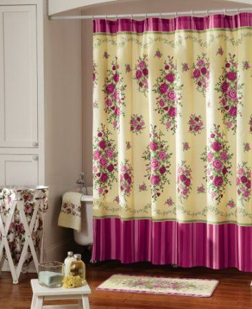 Amazon Com Pink Country Rose Bathroom Shower Curtain By