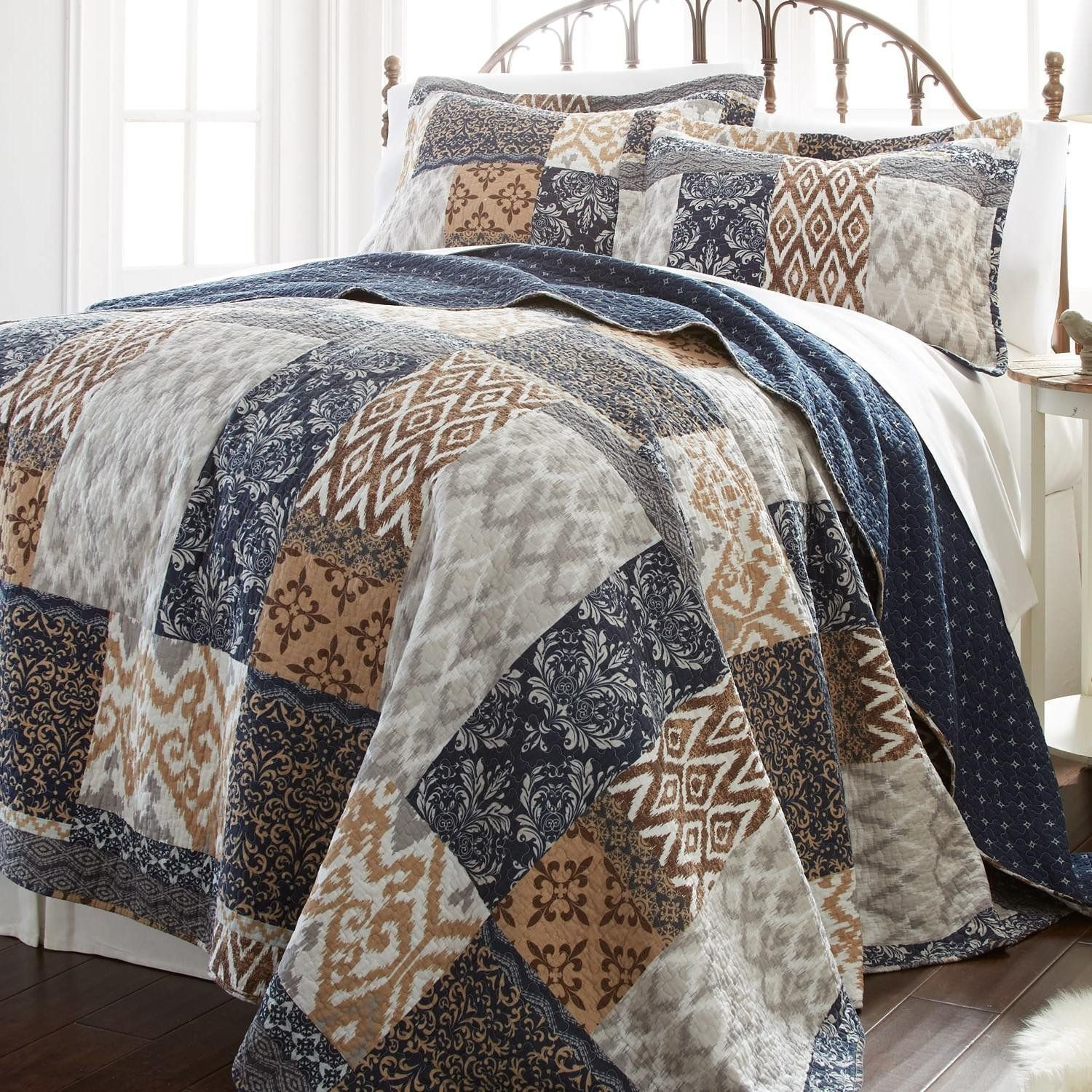brown blue tan white twin quilt set