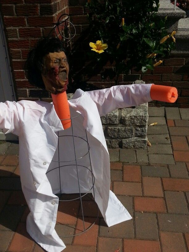 Re-purpose doll head or foam head and use a tomato cage for the body - pinterest halloween decor outside