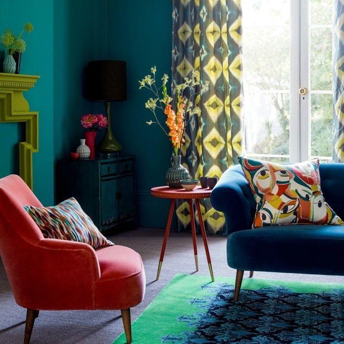 wandfarbe petrol wohnzimmer farbgetaltung farbige möbelstücke - wandfarbe petrol