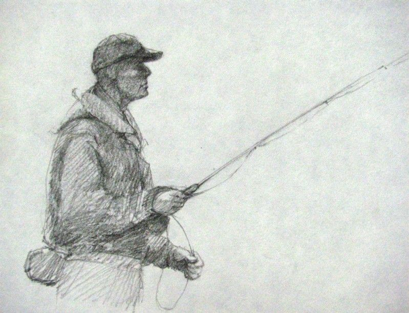 fly fishing drawing - photo #19