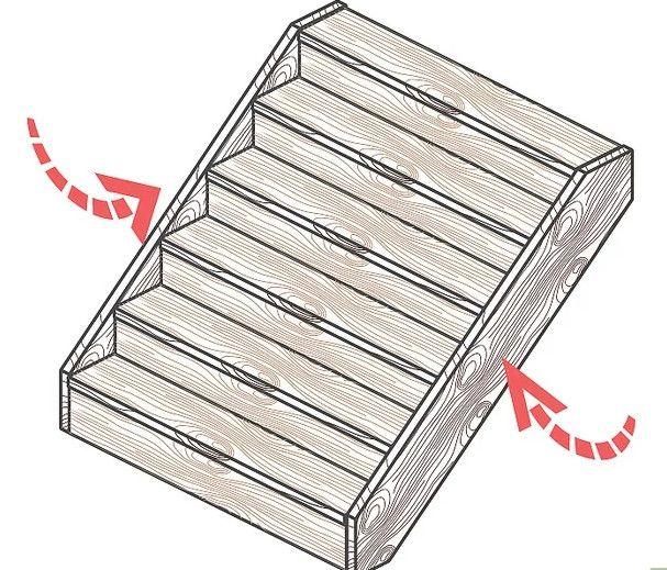 Gu a pr ctica para construir una escalera de madera con for Construir una escalera de jardin de madera