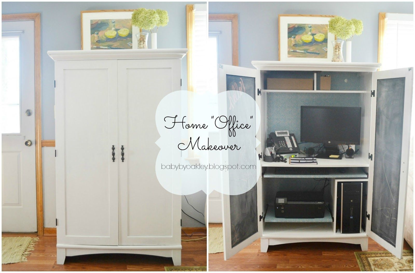 Revamped Computer Armoire - Home Office Makeover | baby by oakley ...