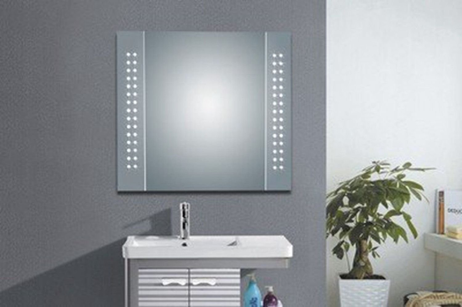 hapilife 60 bathroom led mirror illuminated demister with shaver