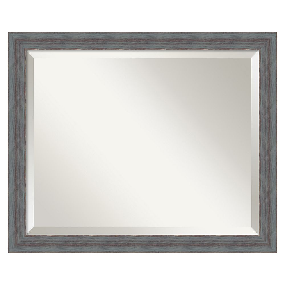 Rustic Beveled Wall Mirror, Grey