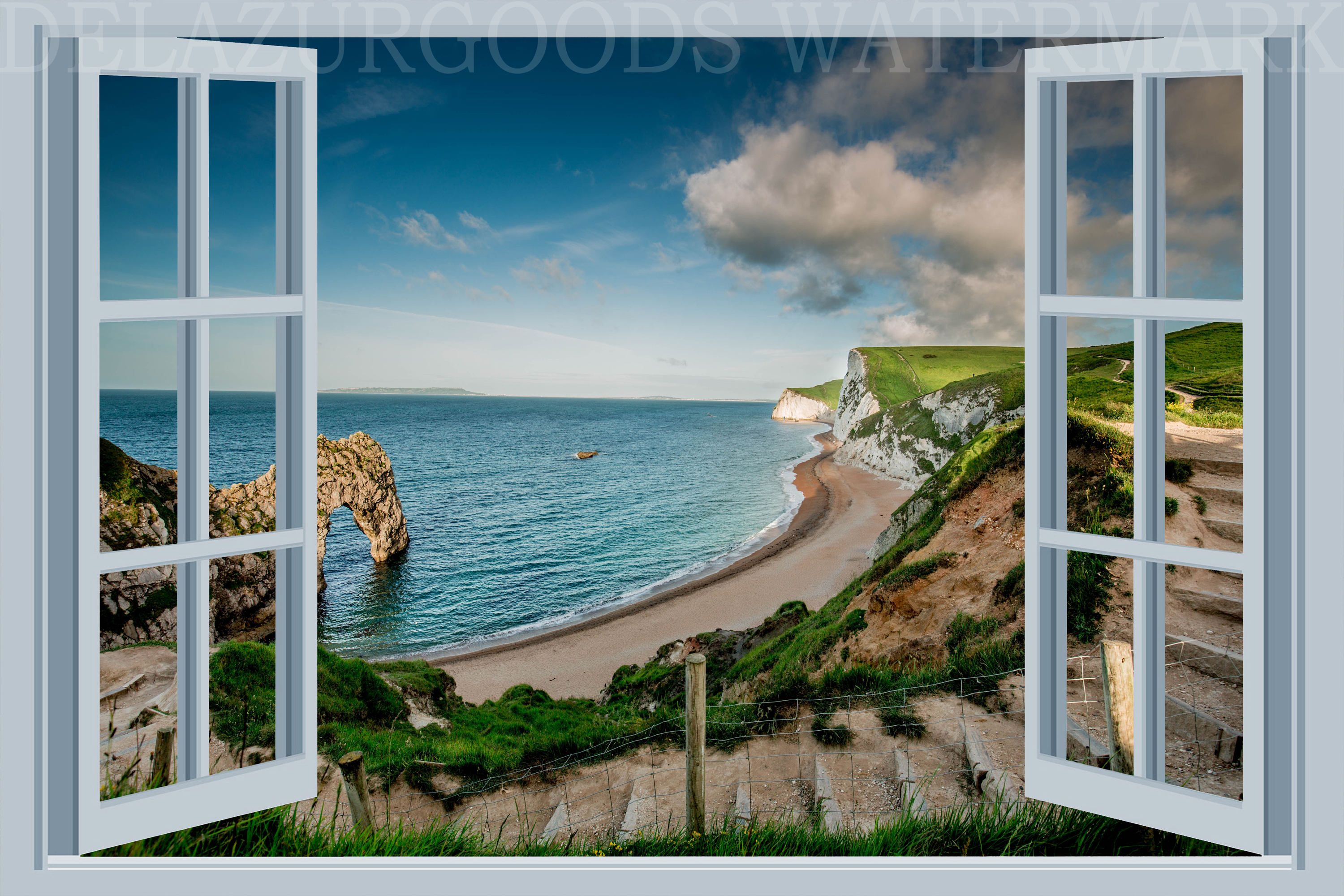 Beach House White Window View Wall Decal Removable Wallpaper Peel Stick High Quality Materials Diy By Delazur Window View View Wallpaper White Windows