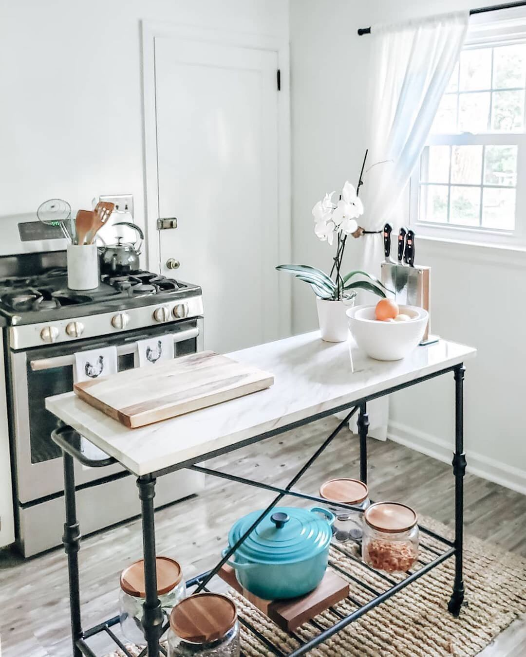 Crate And Barrel On Instagram Our Elegant Marble Top Island Translates French Style Into A Timeless French Kitchen Table Kitchen Design Small French Kitchen