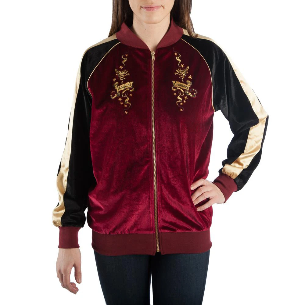 This Juniors Bomber Jacket Is Only For The Best And Brightest At Hogwarts The Body Is Made From A Velve Harry Potter Jacket Harry Potter Outfits Bomber Jacket
