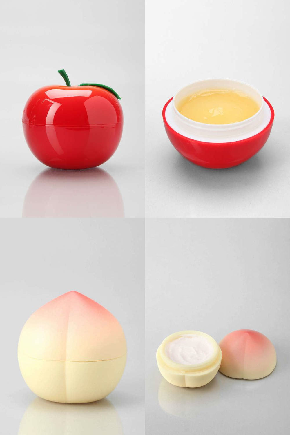 Tony Moly Skin Creams by Tony Moly  Innovative Packaging.  I like this project simply based on it's charming simple approach. This fruit shaped container where the lotion is stored to later use. I like how you are able to keep a fruit without it rotting and, instead, you're using it to keep lotion. It's also a nice collectible to have since it comes in many other fruit lotions.