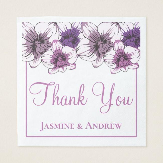 Floral Purple Orchid Wedding Thank You Flowers Napkin | Zazzle.com #brautblume