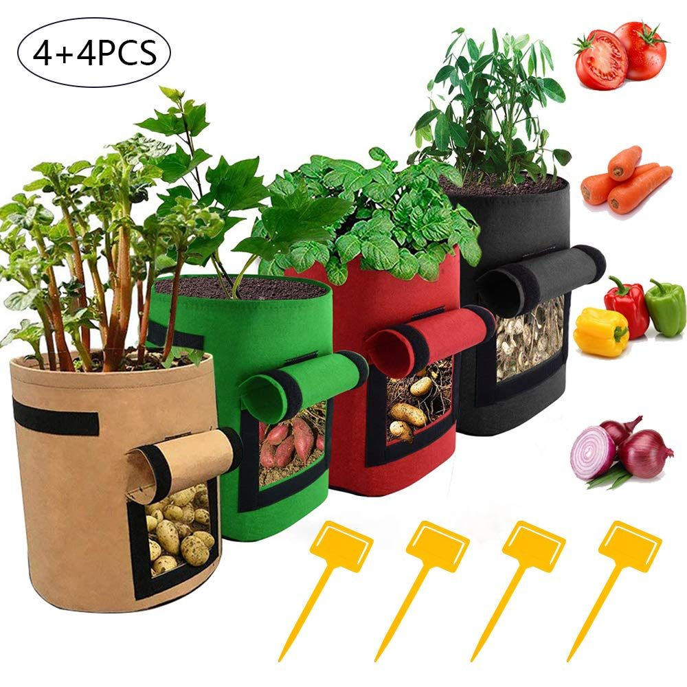 Westbestar Potato Grow Bags 7 Gallon Planting Potato Grow Container 4 Pack Vegetable Planter Container With Velcro Window Handles Flap For Various Vegetables With 4 Pcs Plant Label Plant Labels Grow Bags Vegetable Planters