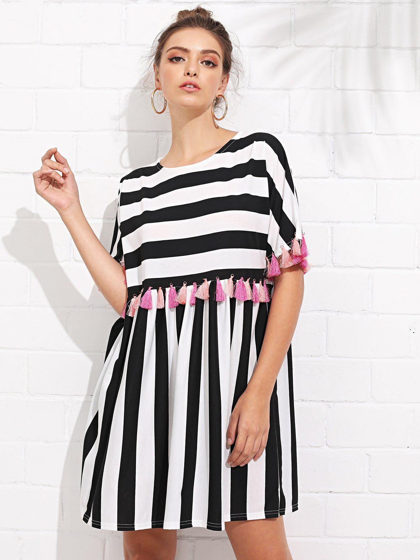 Fringe Trim Striped Dress Shein Sheinside Striped Casual Dresses Black Striped Dress Dresses [ 1785 x 1340 Pixel ]