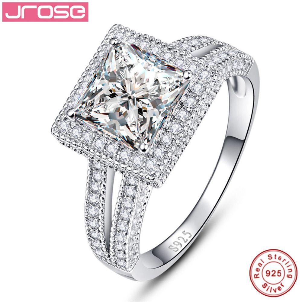 Jrose Princess White CZ 100 Real Pure 925 Sterling Silver