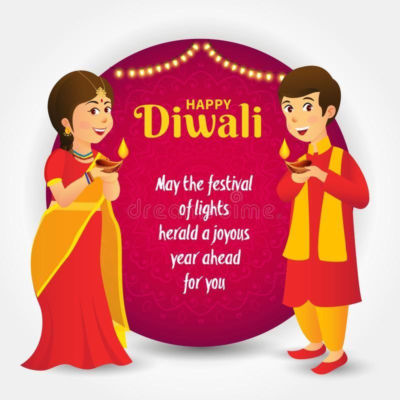 Diwali Greeting Card With Cartoon Indian Kids Cute Cartoon Indian Kids In Tradi Spon Kids Indian Diwali Greetings Diwali Greeting Cards Happy Diwali