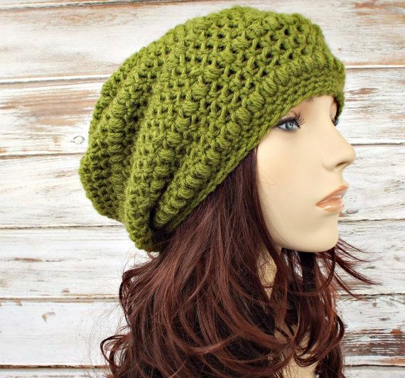 56ea10e44d5a9a Crochet Hat Pattern for Penelope Puff Stitch Beret and Slouchy Hat. Crochet  Hat Womens Hat Green Slouchy Beanie ...
