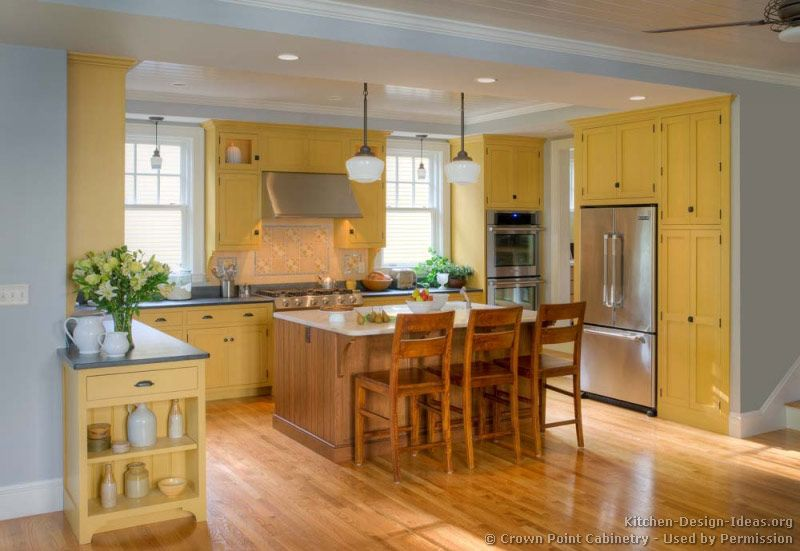 Yellow Kitchen And Light Blue Living Room Walls Wood Floor