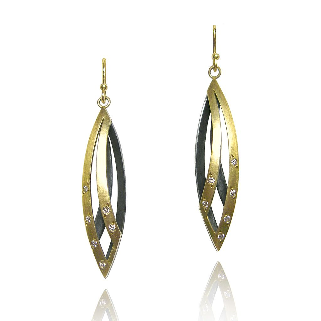 14K Yellow+White Gold 47X17mm Shiny Flat Convex Double Tear Drop Graduated Earring with Leverback Clasp