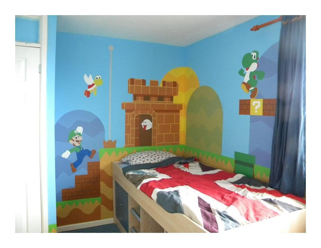 Geek art gallery mural super mario bros bedroom for Pinterest decoracion salones