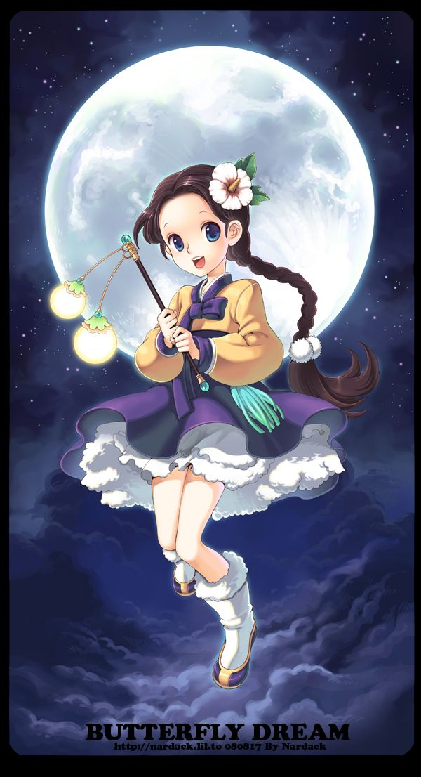 Tags: Anime, Nardack, Hibiscus, Hanbok, Butterfly Dream, Korean Clothes, Stars (Sky)