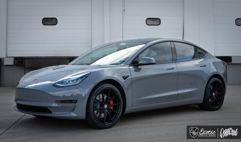 Tesla Model 3 Performance Wrapped In Avery Gloss Rock Gray Tesla Model Tesla Electric Car Tesla